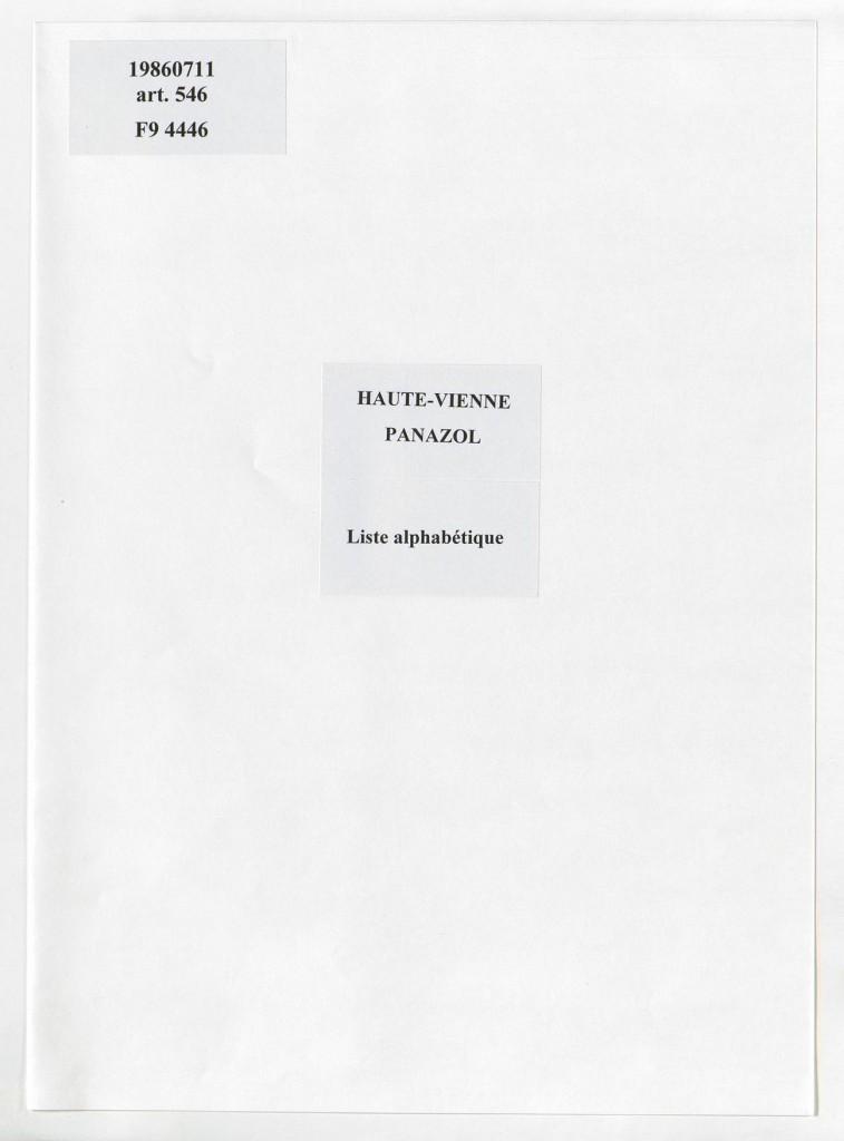 19860711 /546/Haute-Vienne/Panazol