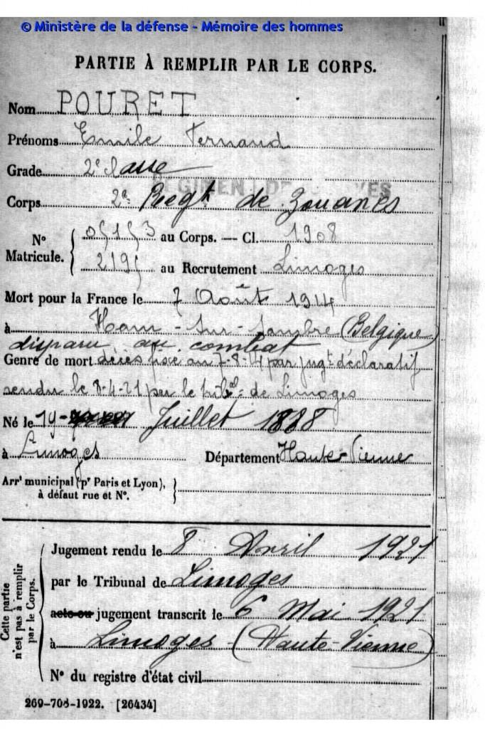 POURET Emile Fernand 2e RMZ mort indiquée le 07-08-1914 - en réalité le 22 - archives_J081229R