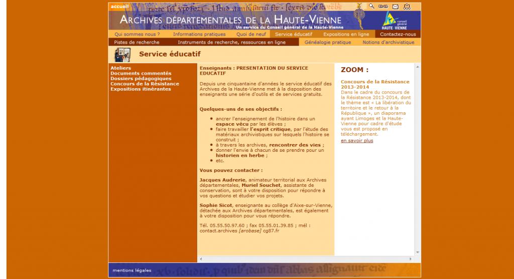 ADHV service éducatif