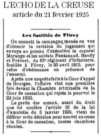 Fusillés de Flirey Echo de la Creuse