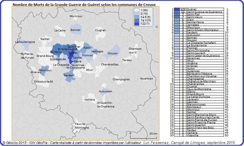 Morts de Guéret - Carte de Creuse