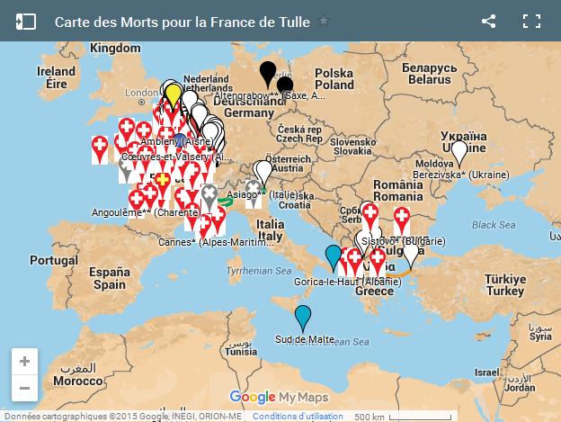 Carte MPF de Tulle Google My Maps