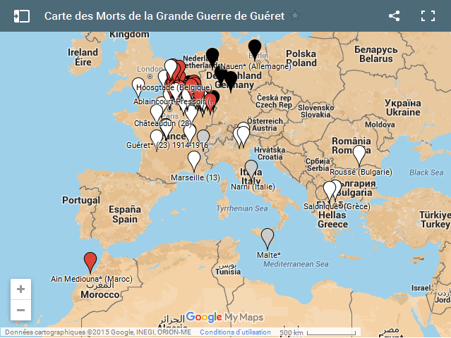 Carte des Morts de Guéret Google My Maps