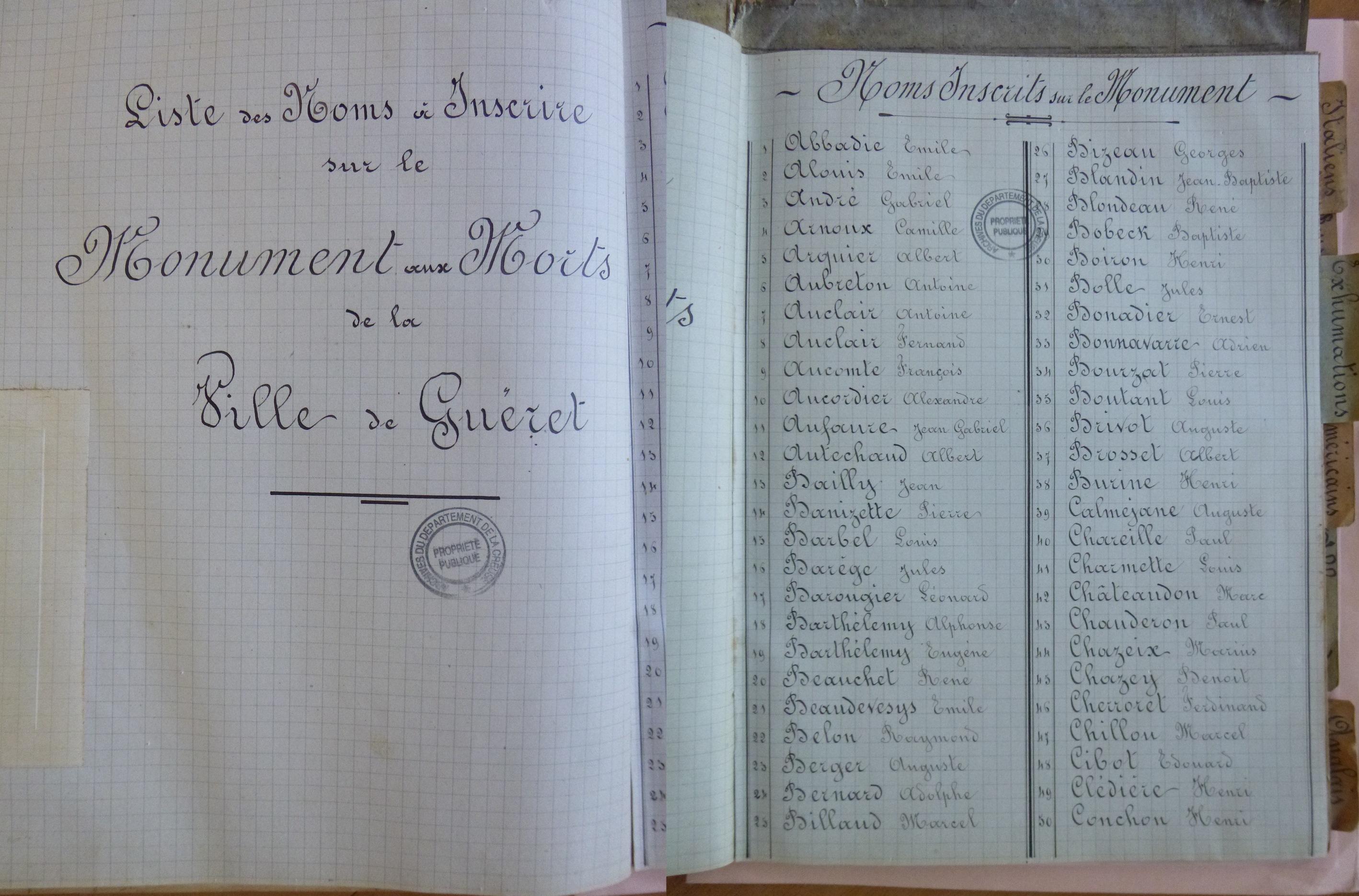 Liste des noms du monument aux morts de Guéret