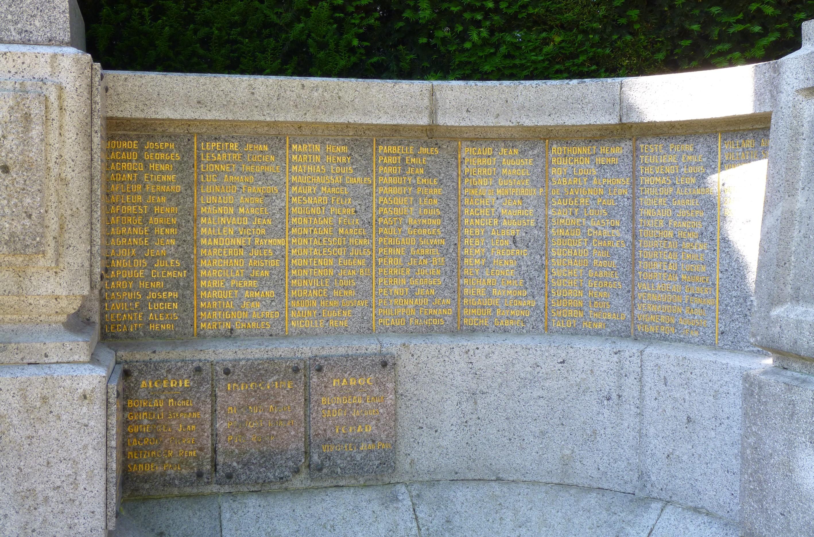 Noms inscrits sur le monument aux morts de Guéret