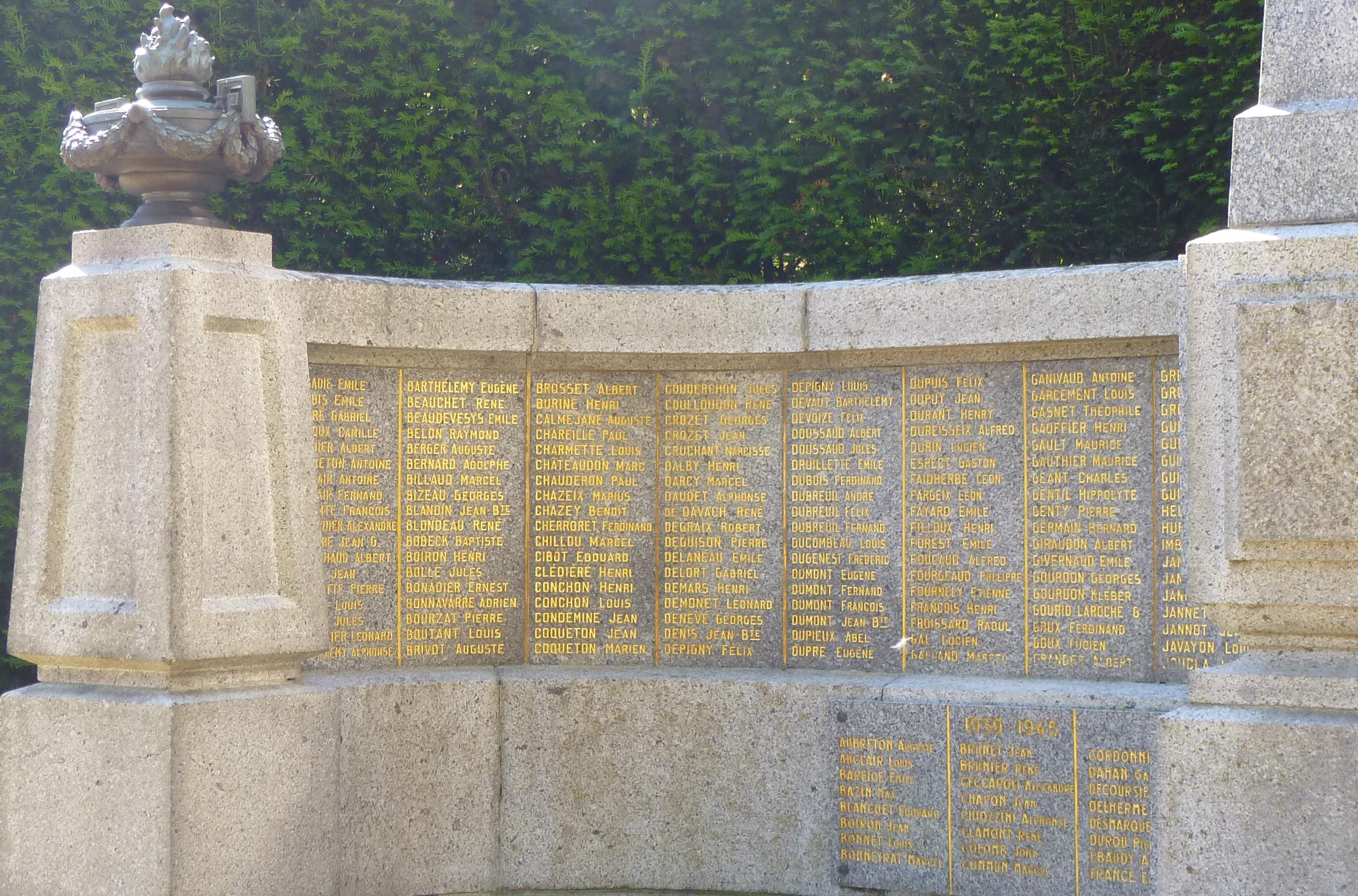 Morts inscrits sur le monument aux morts de Guéret