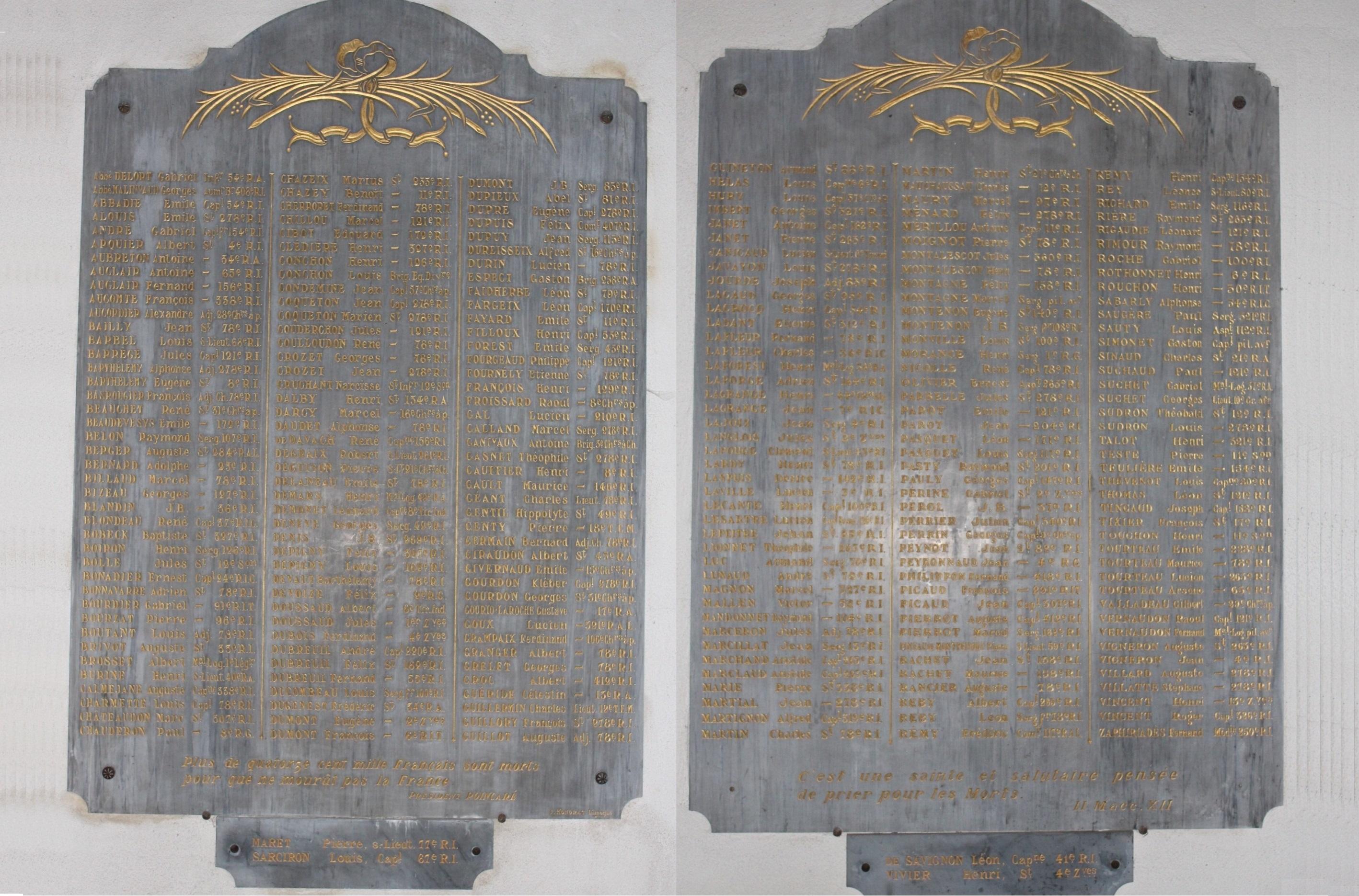 Plaques des Morts de la Grande Guerre