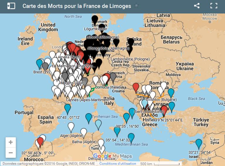 Carte des MPF de Limoges
