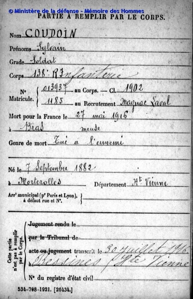 COUDOIN Sylvain 27 05 1916 Bras
