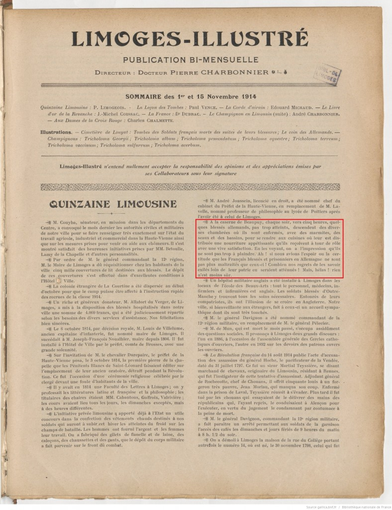 Limoges illustré 01 11 1914 P1