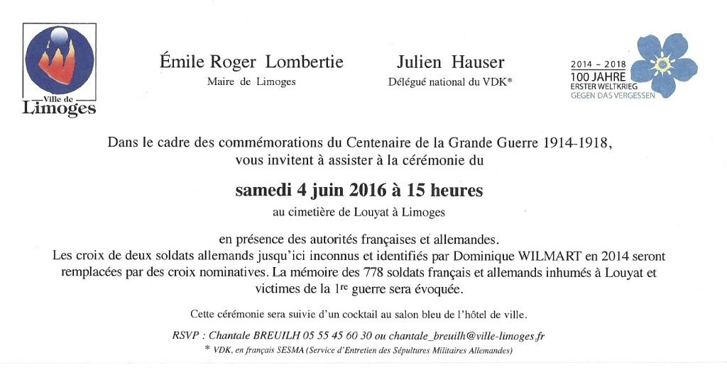 Cérémonie du 4 juin 2016 Invitation