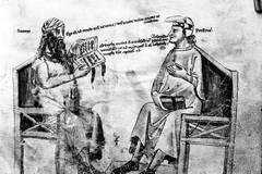 Enluminure montrant une conversation fictive entre Averroès à gauche
