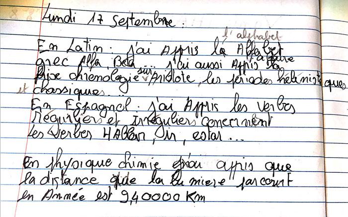 Un autre exemple : une date suivie d'un texte «En latin: j'ai appris… En espagnol: j'ai appris… En physique chimie j'ai appris...»
